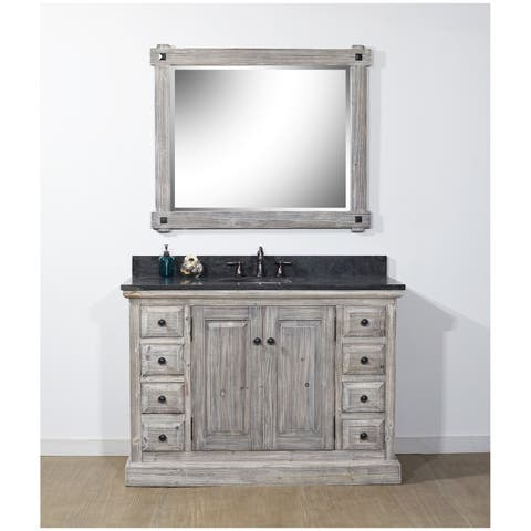 Rustic Style 48-inch Bathroom Vanity in Grey-Driftwood Finish with Limestone-No Faucet