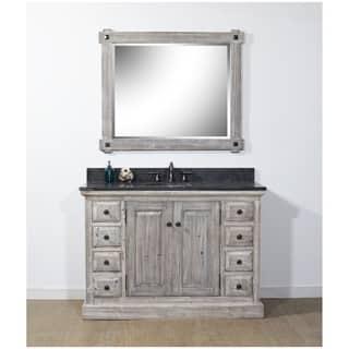 Infurniture Grey Wood/Limestone/Ceramic 48-inch Rustic Bathroom Vanity|https://ak1.ostkcdn.com/images/products/18185183/P24331101.jpg?impolicy=medium