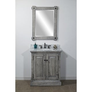 Infurniture Grey Carrera White/Natural Marble 31-inch Bathroom Vanity