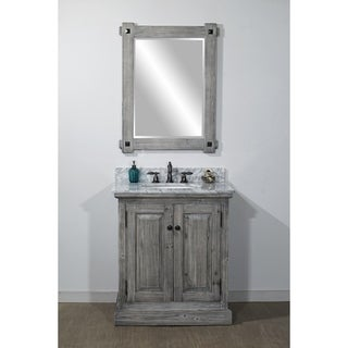 Rustic Style 31-inch Bathroom Vanity in Grey-Driftwood Finish with Carrara White Marble Top-No Faucet