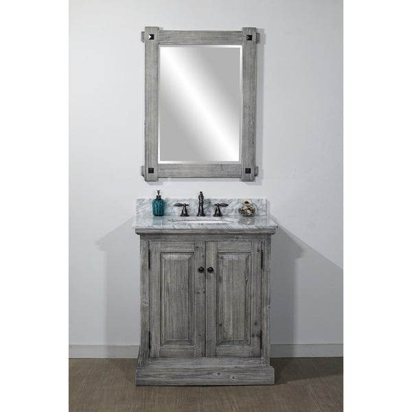 shop rustic style 31 inch bathroom vanity in grey driftwood finish with carrara white marble top. Black Bedroom Furniture Sets. Home Design Ideas