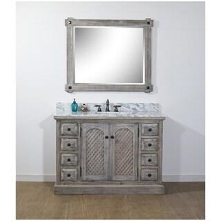 Infurniture Grey Wood/Stone 48-inch Rustic Bathroom Vanity