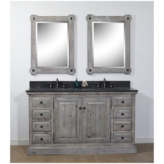 infurniture brown wood limestone 61inch rustic style double bathroom vanity