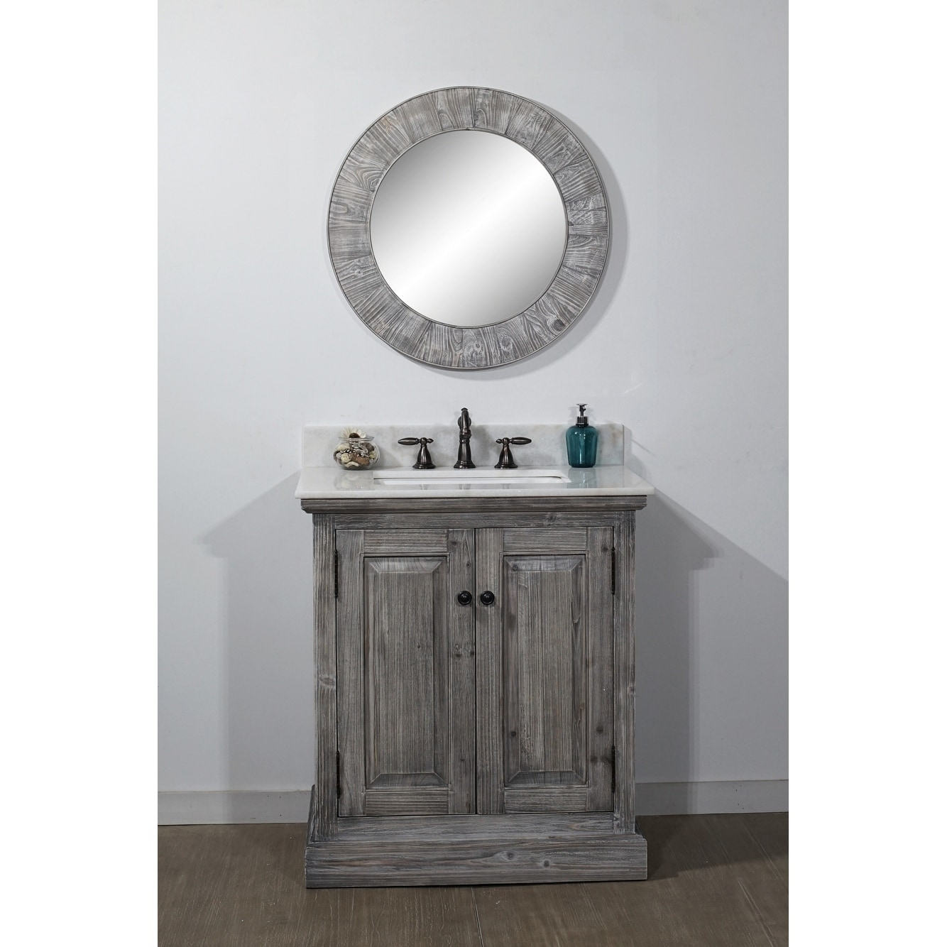 Rustic Style 31 Inch Bathroom Vanity In Grey Driftwood Finish With Arctic  Peart Quartz