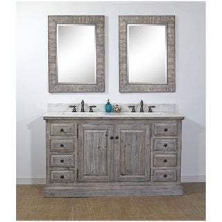 Infurniture Rustic Marble Wood 61-inch Double Bathroom Vanity