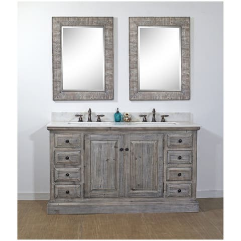 Rustic Style 61-inch Bathroom Vanity in Grey-Driftwood Finish with Arctic Pearl Quartz Top-No Faucet