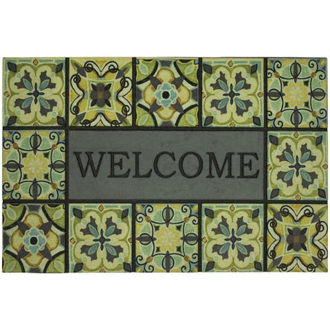 "Mohawk Home Doorscapes Estate Mat Welcome Bohemian Tiles Doormat (1'11 x 2'11) - 1'11"" x 2'11"""