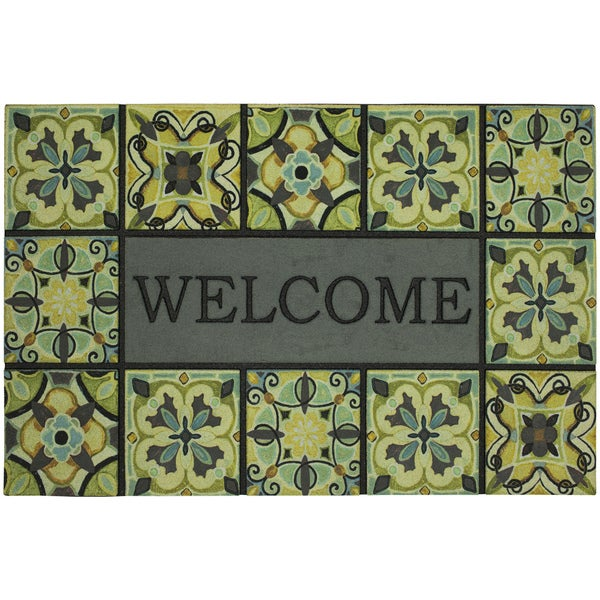 Mohawk Home Doorscapes Estate Mat Welcome Bohemian Tiles Doormat (1u0026#x27;11  X