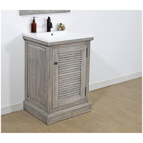 Rustic Style 24 Inch Bathroom Vanity In Grey Driftwood