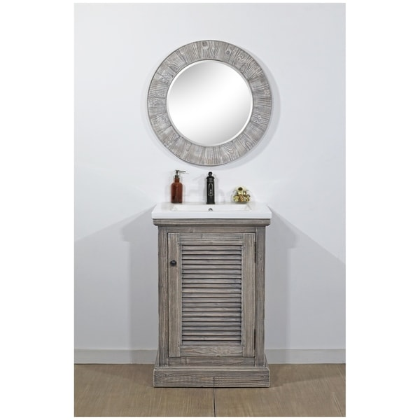 Shop Rustic Style 24 Inch Bathroom Vanity In Grey Driftwood Finish Free Shipping Today