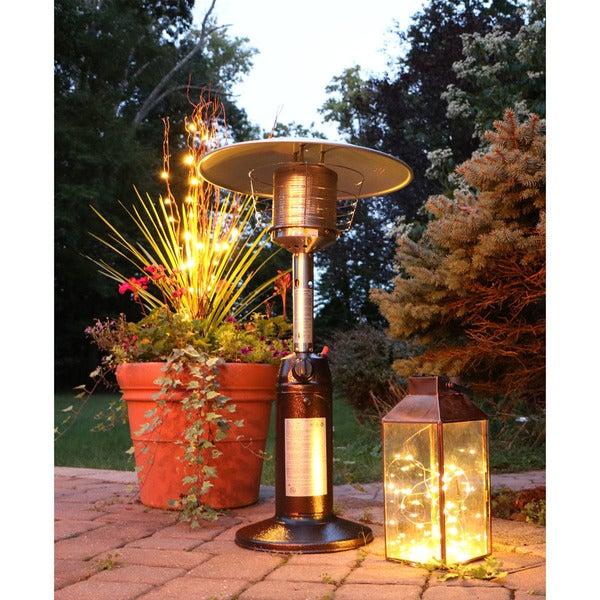 Mini Umbrella Tabletop Propane Patio Heater In Hammered Bronze   Free  Shipping Today   Overstock.com   24331453