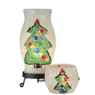 Handmade Mosaic Christmas Tree Lamp and Candle Holder