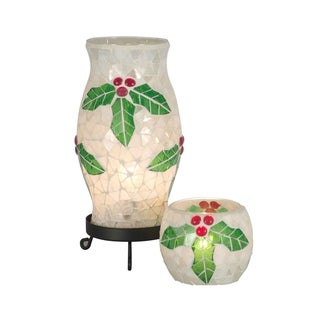 Handmade Mosaic Christmas Holly Noel Lamp and Candle Holder
