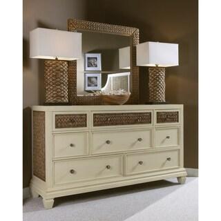 Panama Jack Bridge Hampton Seagrass Frame White Wooden Drawer Dresser and Optional Mirror