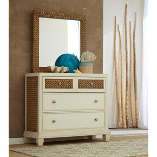 Panama Jack Bridge Hampton Antique White Wood and Seagrass Bachelor's Chest and Optional Mirror