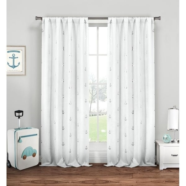 Metallic Anchor Ahoy Pole Top Curtain Panel Pair - 37x84""