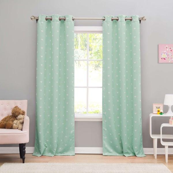 """Lala Bash Kelly Hearts Printed Blackout Curtain Panel Pair - 38x84"""""""
