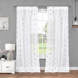 "Lala Bash Sandie Metallic Flamingo Curtain Panel Pair - 37x84"""