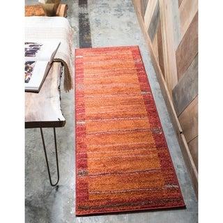 Harvest Terracotta/Cream Stripe Runner Rug (2'6 x 10')