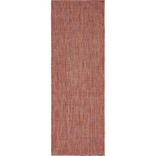 Unique Loom Outdoor Solid Runner Rug - 2' x 6' (Option: Rust Red)