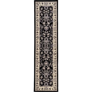 Kashan Black/Cream Floral Runner Rug (2'7 x 10')