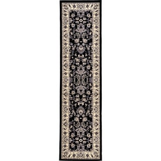 Kashan Black/Cream Floral Runner Rug (2'7 x 10')