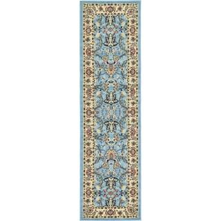 Kashan Blue Floral Runner Rug (2'7 x 10')