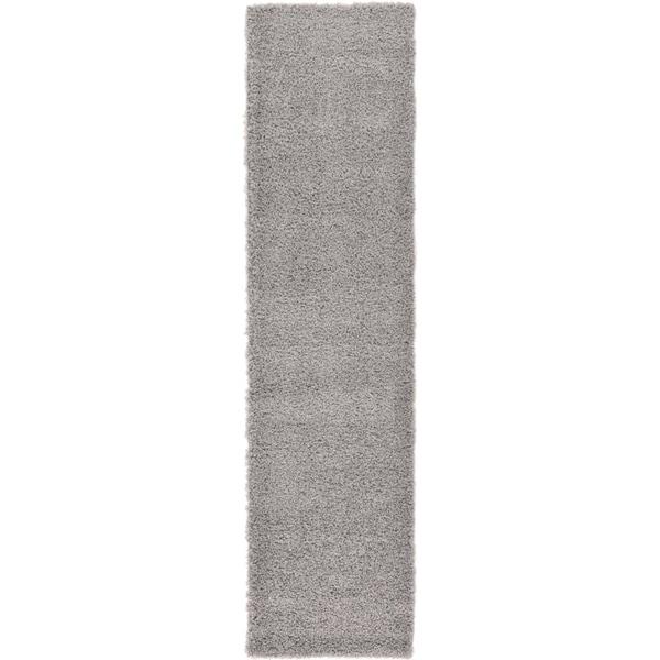 Solid Shag Cloud Grey/Cream Solid Runner Rug (2'6 x 10')