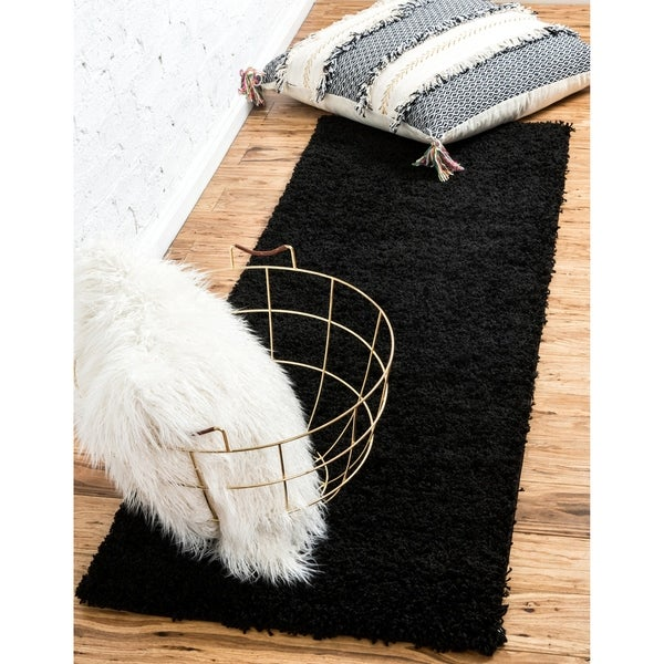 Unique Loom Solid Shag Runner Rug