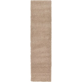 Unique Loom Solid Shag Runner Rug - 2' 6 x 10' (Option: Taupe)