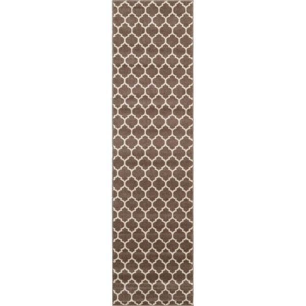 Trellis Light Brown/Beige Trellis Runner Rug (2'7 x 10')