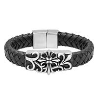 Men's Woven Black Leather and Stainless Steel Bracelet, 8.5""