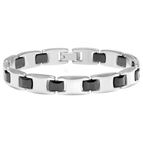 Men's Two-Tone Black and Gray Tungsten Ceramic H-link Bracelet, 8.5""