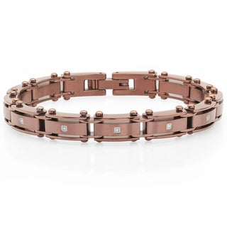 "Men's Brown Stainless Steel Diamond Accent Bracelet, 8"""