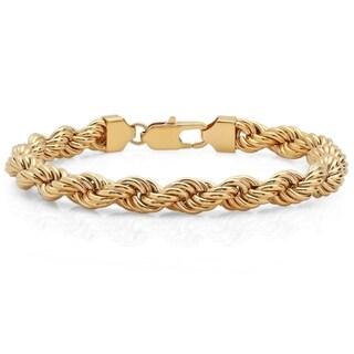 """Men's Gold-Tone Stainless Steel Rope Bracelet, 9"""""""