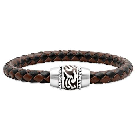 """Men's Brown Synthetic Leather and Stainless Steel Bracelet, 8.75"""""""