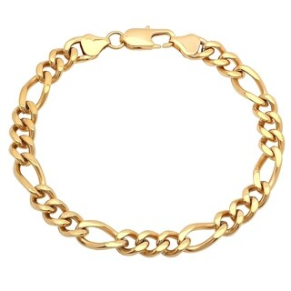 """Men's Gold-Tone Stainless Steel Figaro Bracelet, 8"""""""