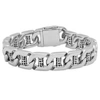 """Men's Stainless Steel High Polish Rugged Design Bracelet, 8.5"""""""