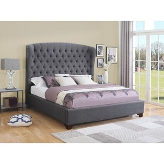 Best Quality Furniture Grey Wingback Button-tufted Upholstered Bed