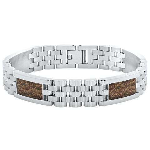 "Men's Stainless Steel Camouflage Inlay Jubilee Bracelet, 8.5"""