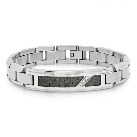 "Men's Stainless Steel Diamond Accent Black Carbon Fiber Inlay Link ID Bracelet, 8.5"""