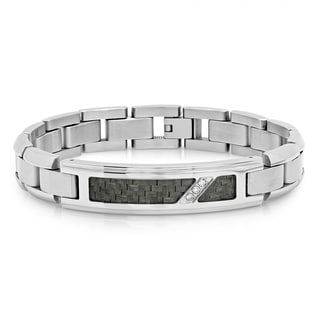 Men's Stainless Steel Diamond Accent Black Carbon Fiber Inlay Link ID Bracelet, 8.5""