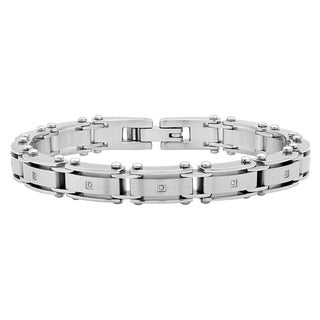 """Men's Stainless Steel White Diamond Accent Link Bracelet, 8.5"""""""