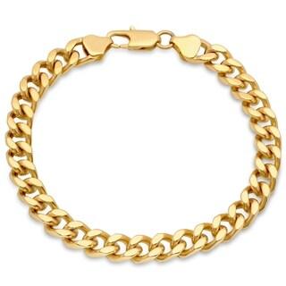 "Men's Stainless Steel 7.3mm Gold-Tone Curb Link Bracelet, 8.5"""