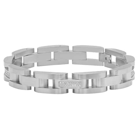 Men's Stainless Steel .35cttw White Diamond Accent Link Bracelet, 8.5""