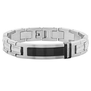 Men's Stainless Steel Diamond Accent Black ID Link Bracelet, 8.5""
