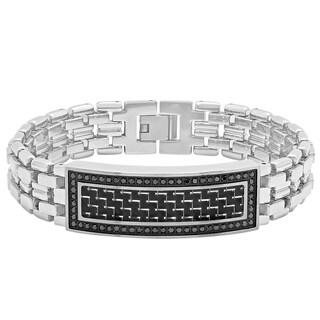 "Men's Stainless Steel 1cctw Black Diamond Carbon Fiber Inlay High Polished Link ID Bracelet, 8.5"""