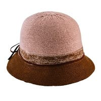 San Diego Hat Company Women's Knit Cloche with Faux Suede Trim Finished in a Bow CTH8069 Camel