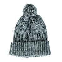 San Diego Hat Company Women's Solid Knit Beanie with Cuff and Pom KNH3422 Grey