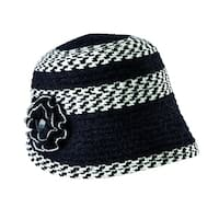 San Diego Hat Company Chenille Cloche with Flower and Jewel SDH5101 Black/Ivory